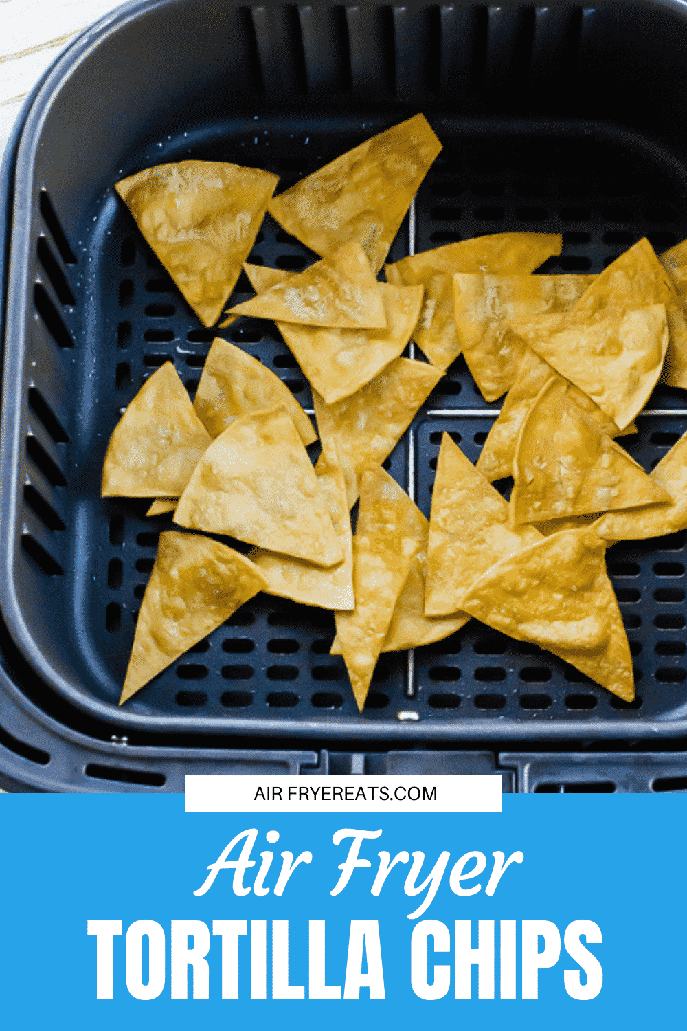 You need this simple recipe for tortilla chips in the air fryer. You won't believe how easy it is to make fresh corn tortilla chips at home without deep frying! #airfryer #gamedayfood via @vegetarianmamma
