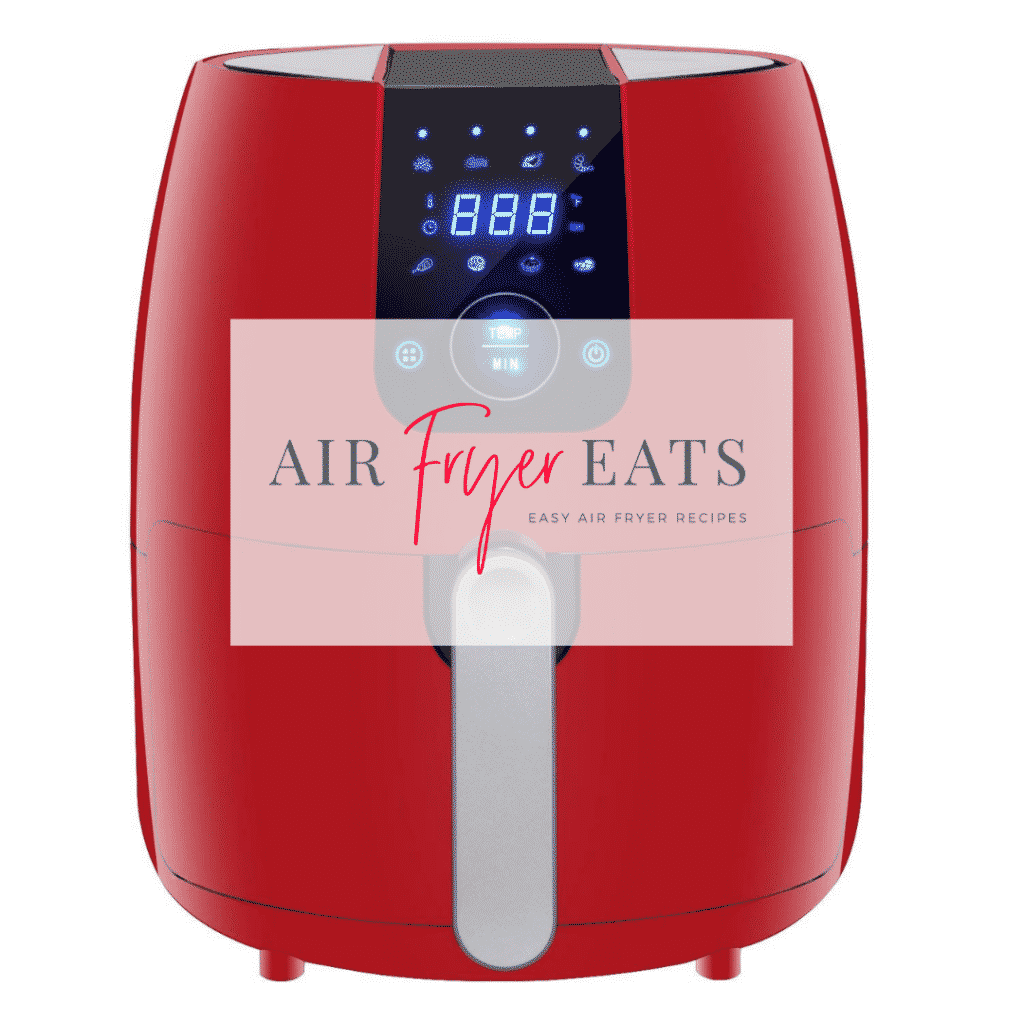 "red air fryer with words ""Air Fryer Eats"""