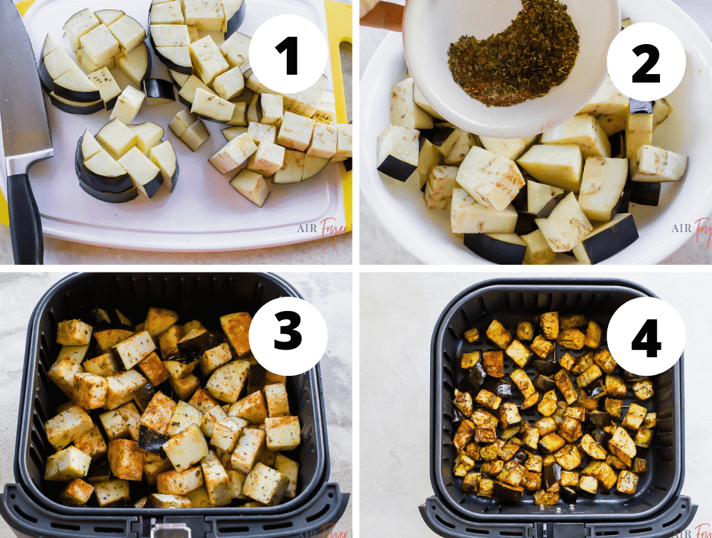 photo collage of 4 illustrated steps of how to make air fryer eggplant.
