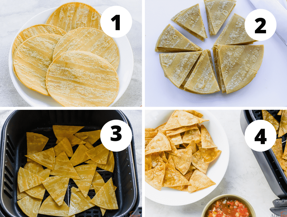 image collage of four steps to make chips in air fryer.