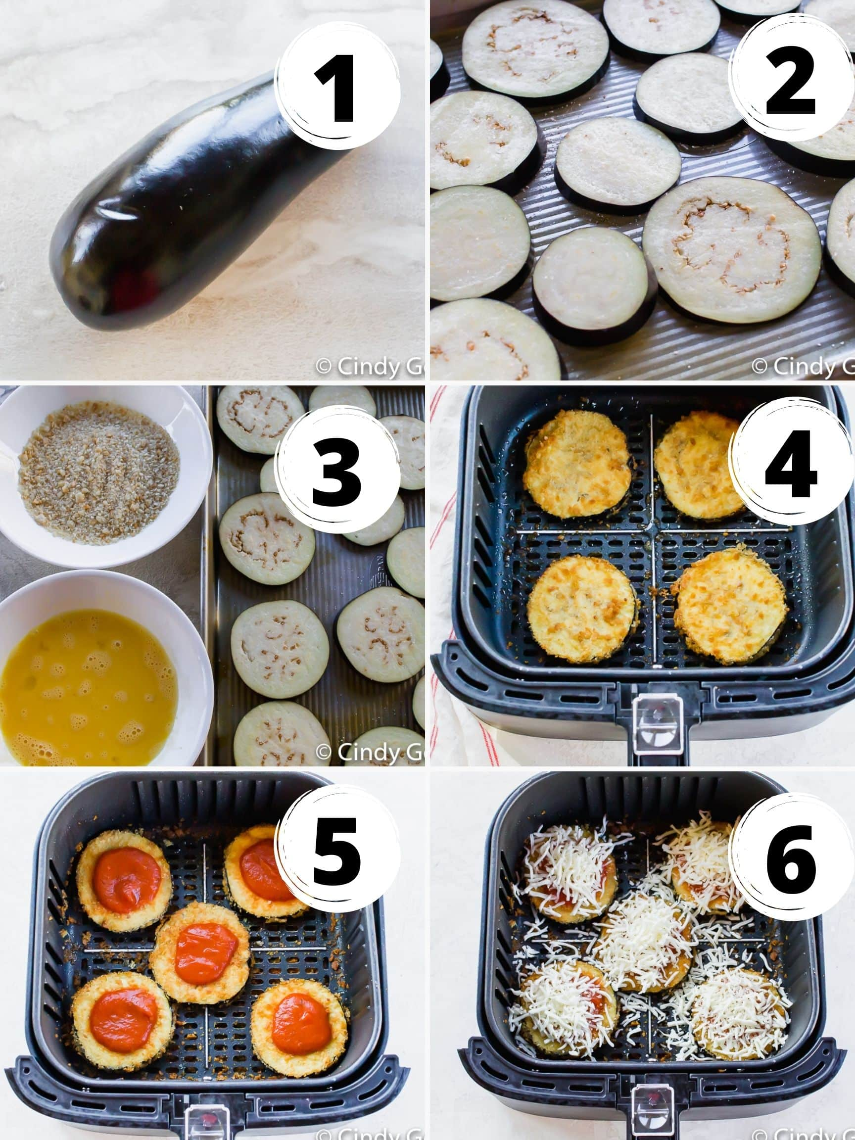 photo collage of six steps to make eggplant parmesan in the air fryer