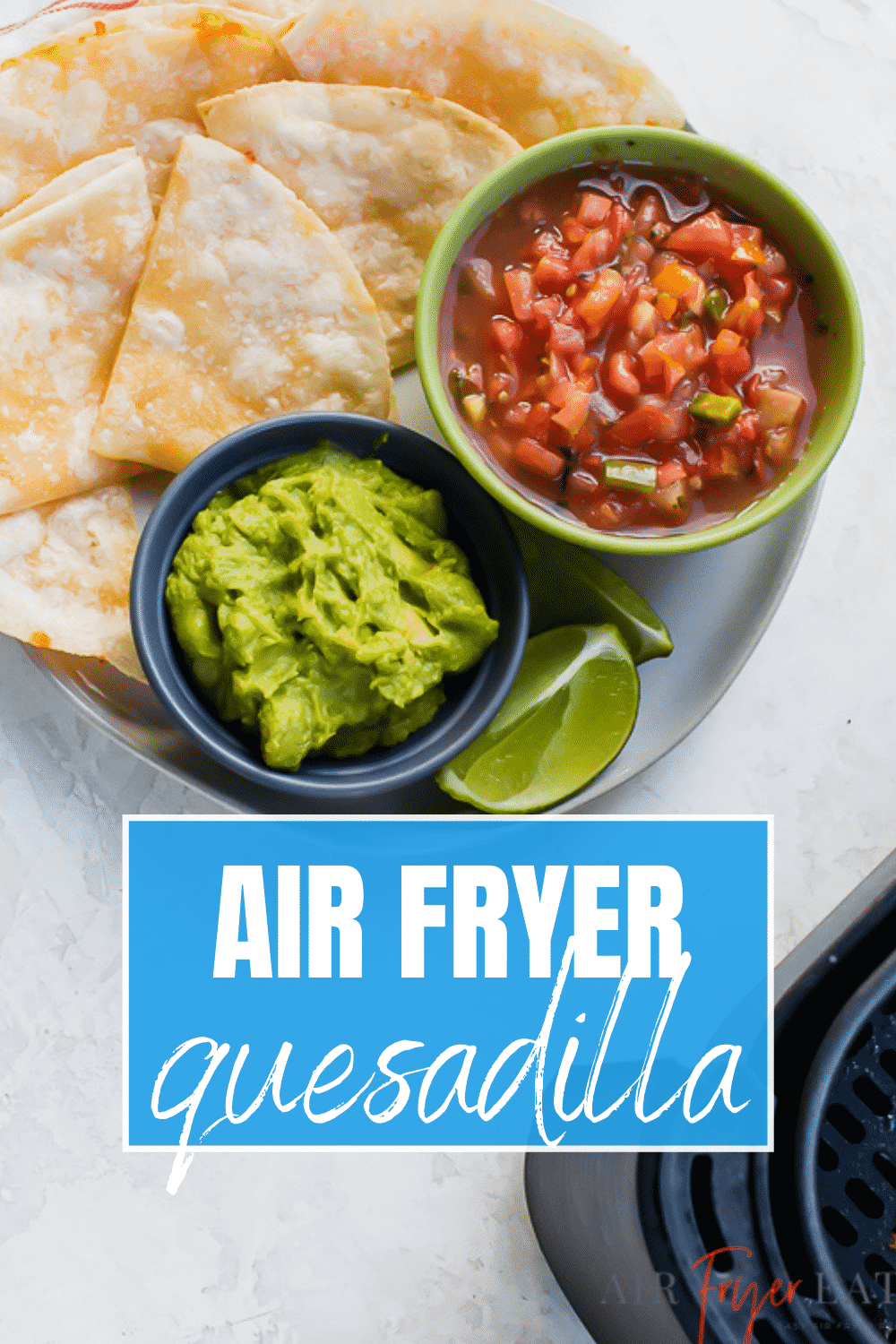 You'll love how easy it is to make Air Fryer Quesadillas just like your favorite Mexican restaurant. Crispy on the outside and cheesy on the inside, you can't go wrong! #airfryer #quesadilla via @vegetarianmamma