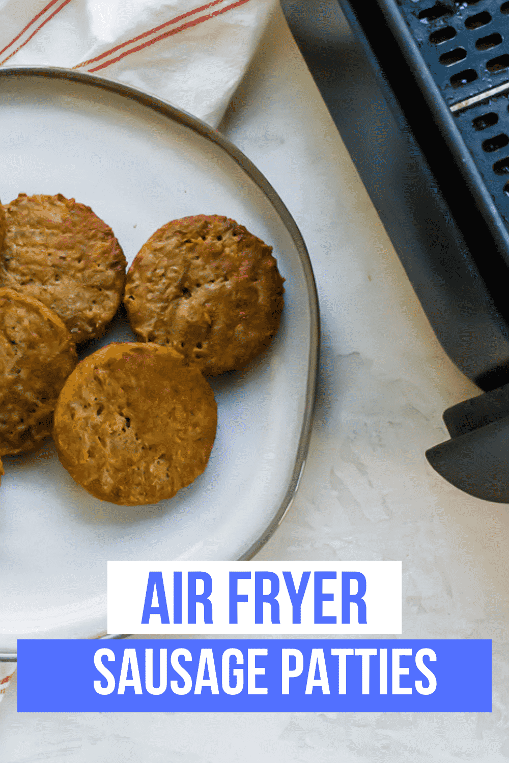 Frozen sausage patties cook up quickly and easily in the air fryer. Air fryer sausage patties are a perfect part of a hearty, delicious breakfast. #airfryer #breakfast #sausage via @vegetarianmamma
