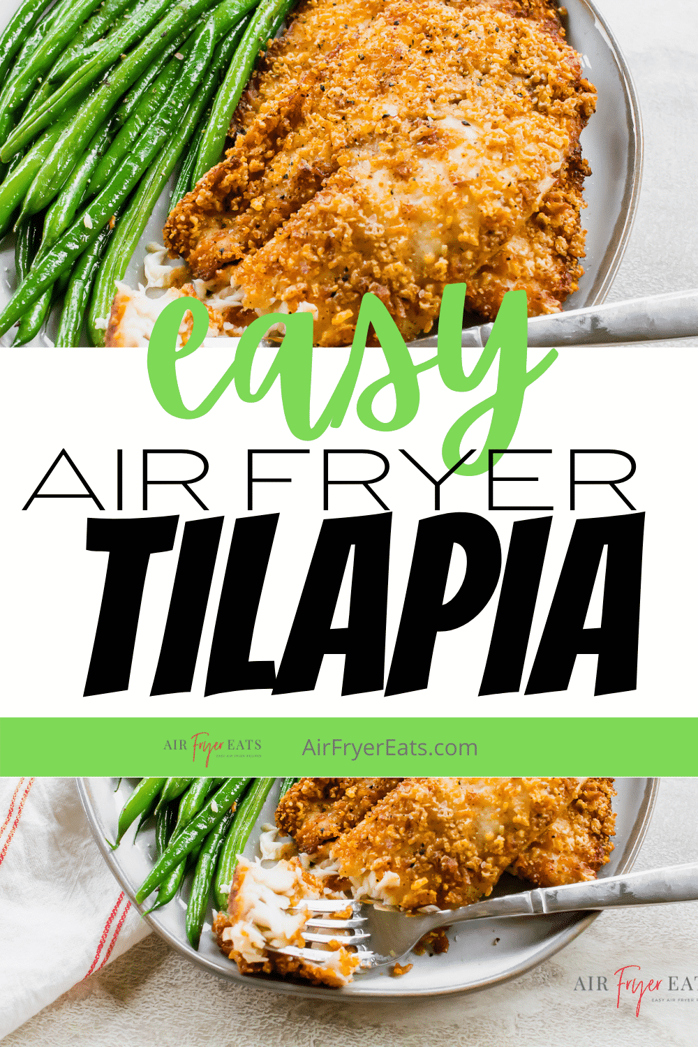 Air Fryer Tilapia is so fast and flaky! Coat this yummy white fish in seasoned breadcrumbs for a quick fish dinner with pantry staples. #airfryertilapia #airfryerfish #tilapia via @vegetarianmamma