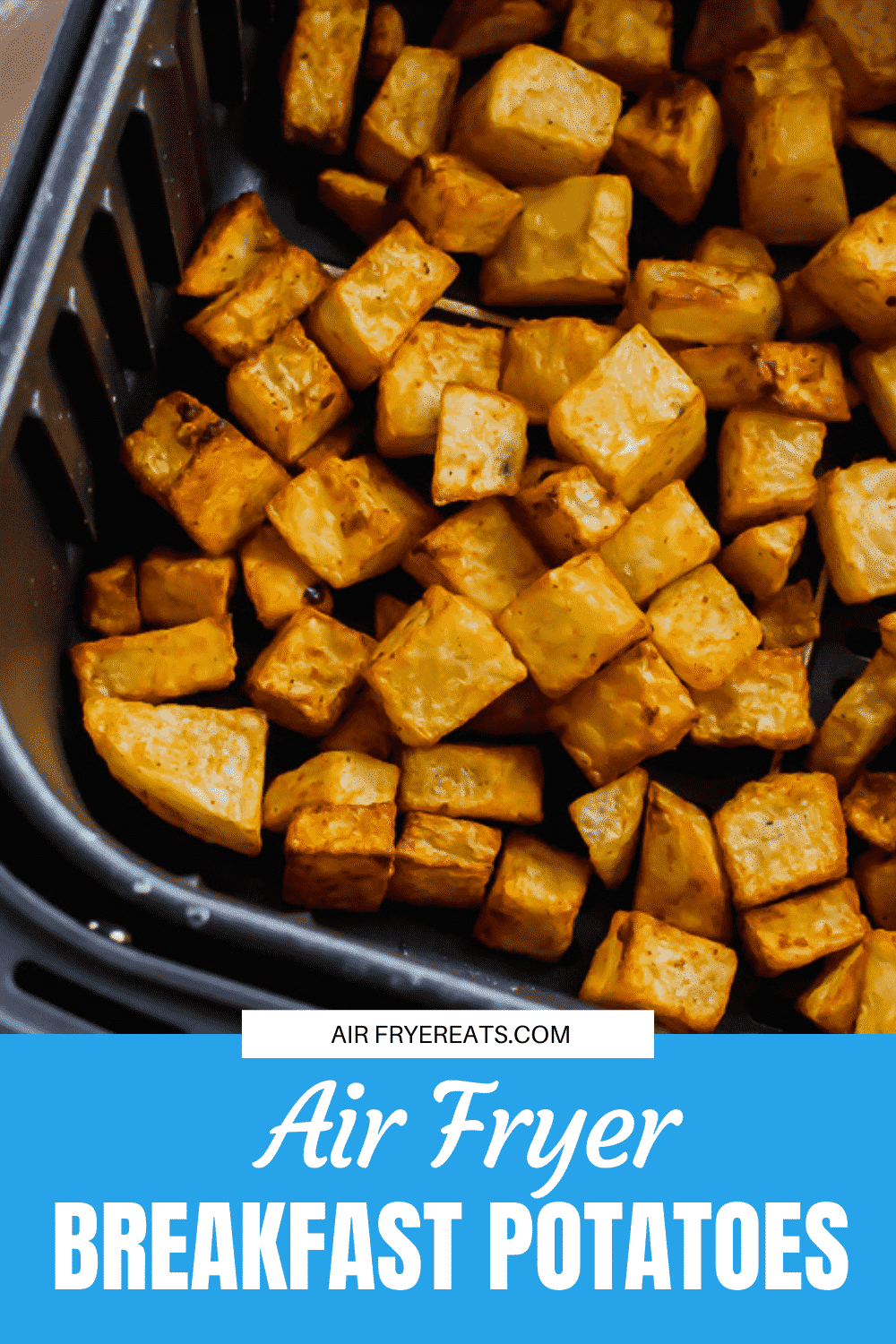 There is no better addition to a home cooked breakfast than crispy air fryer breakfast potatoes. Learn how to make this simple and healthy breakfast side in under 25 minutes. #breakfast via @vegetarianmamma