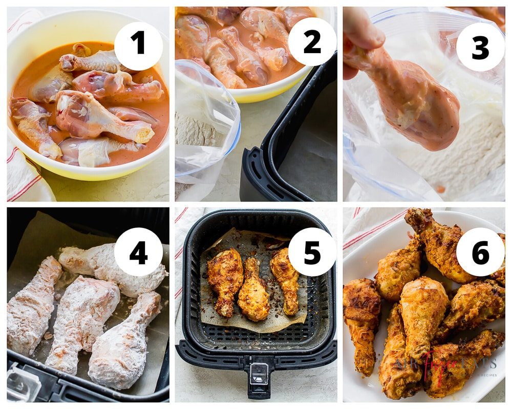 Collage of steps to make chicken drumsticks in the air fryer