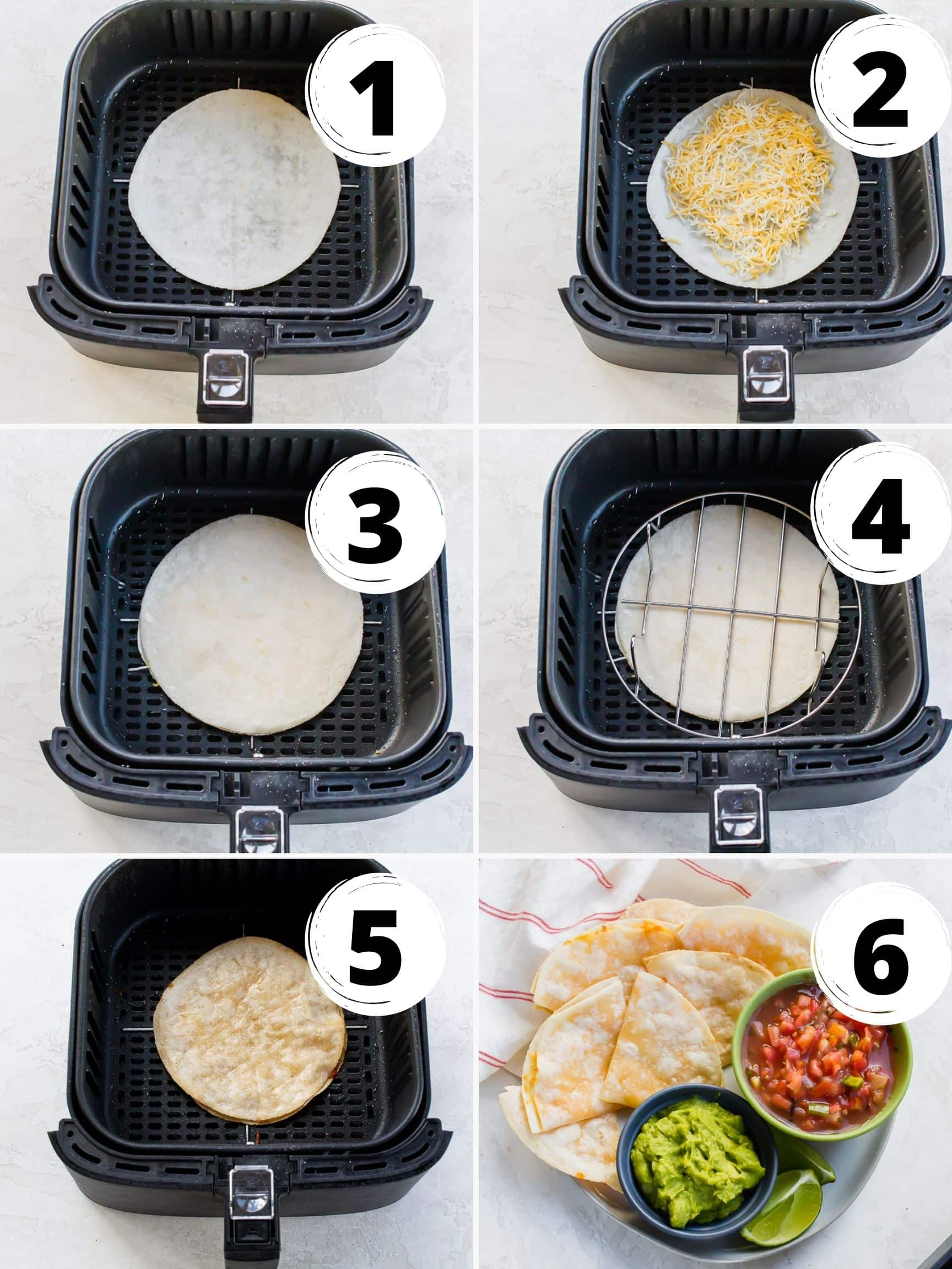 Photo collage of steps for making air fryer quesadillas