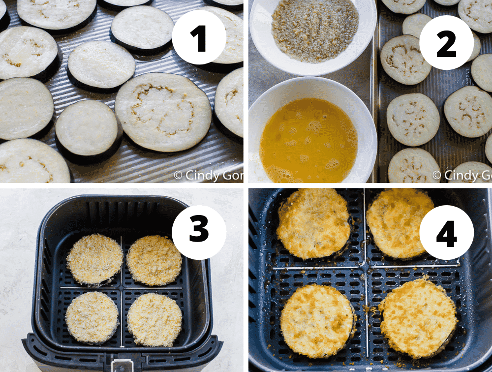 photo collage of four steps needed to make air fryer eggplant