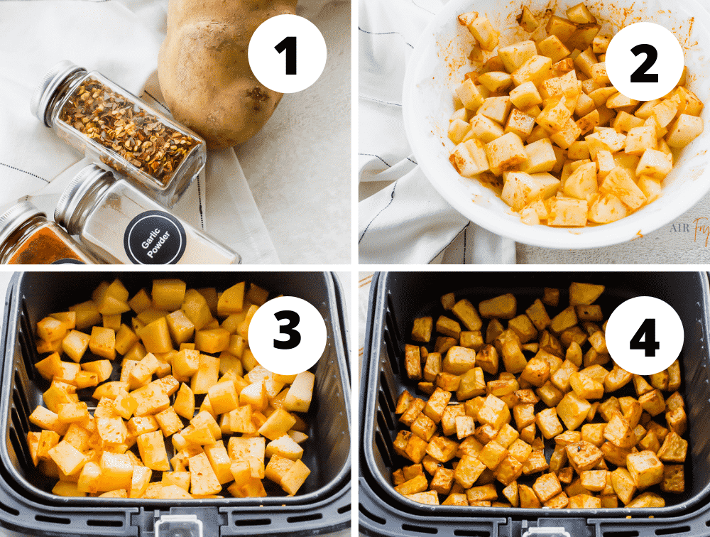 photo collage of four steps to make breakfast potatoes