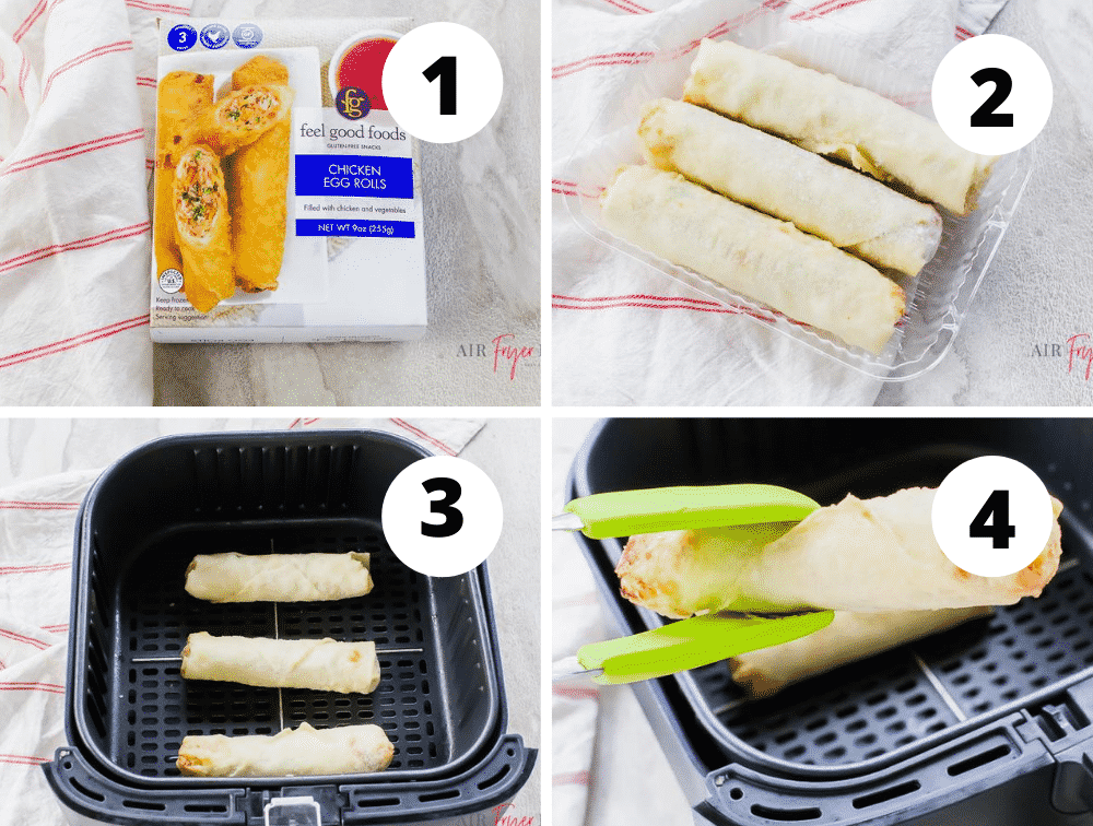 photo collage of 4 steps for making eggrolls in an air fryer