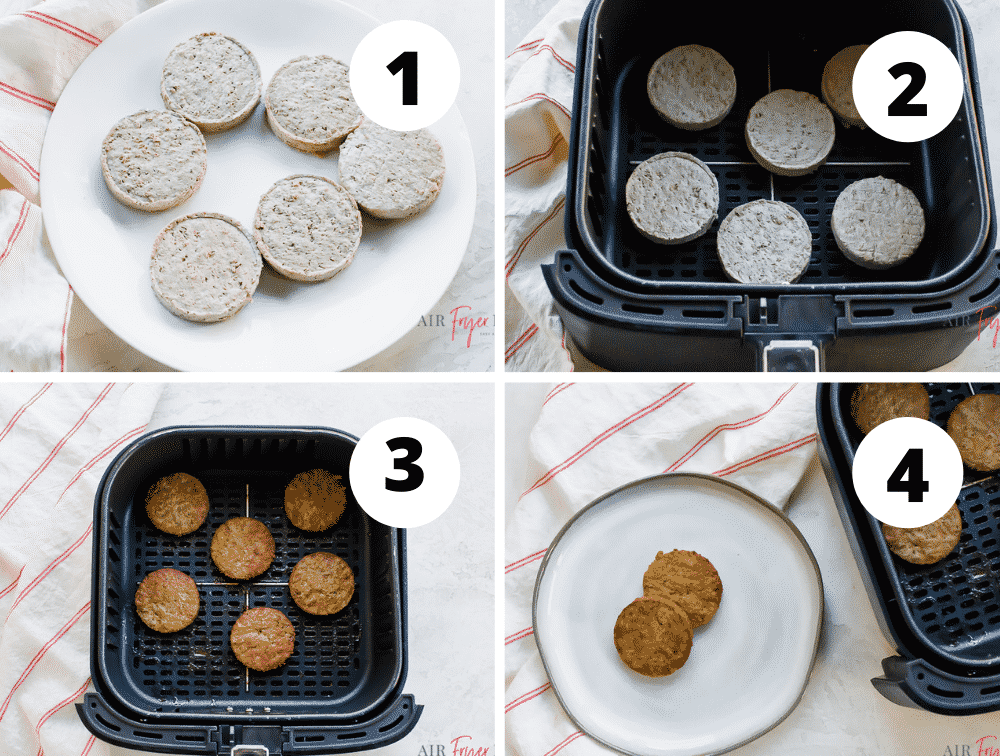 image collage of four steps needed to make frozen sausage in air fryer