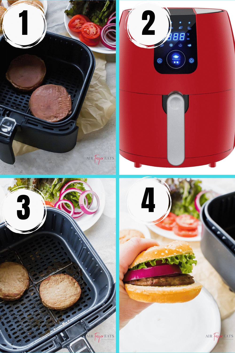 Collage of steps to make frozen turkey burgers in an air fryer