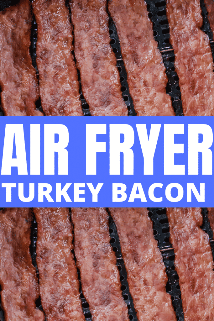 close up view of turkey bacon in the air fryer.