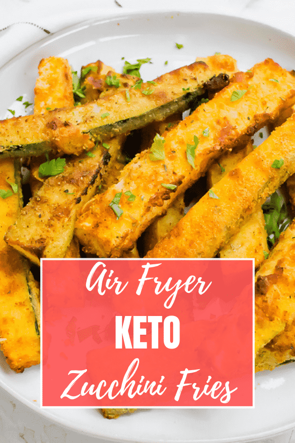 Lightly breaded with a grain free, low carb coating, Air Fryer Keto Zucchini fries are side dish or snack that you'll fall in love with. #keto #zucchini via @vegetarianmamma