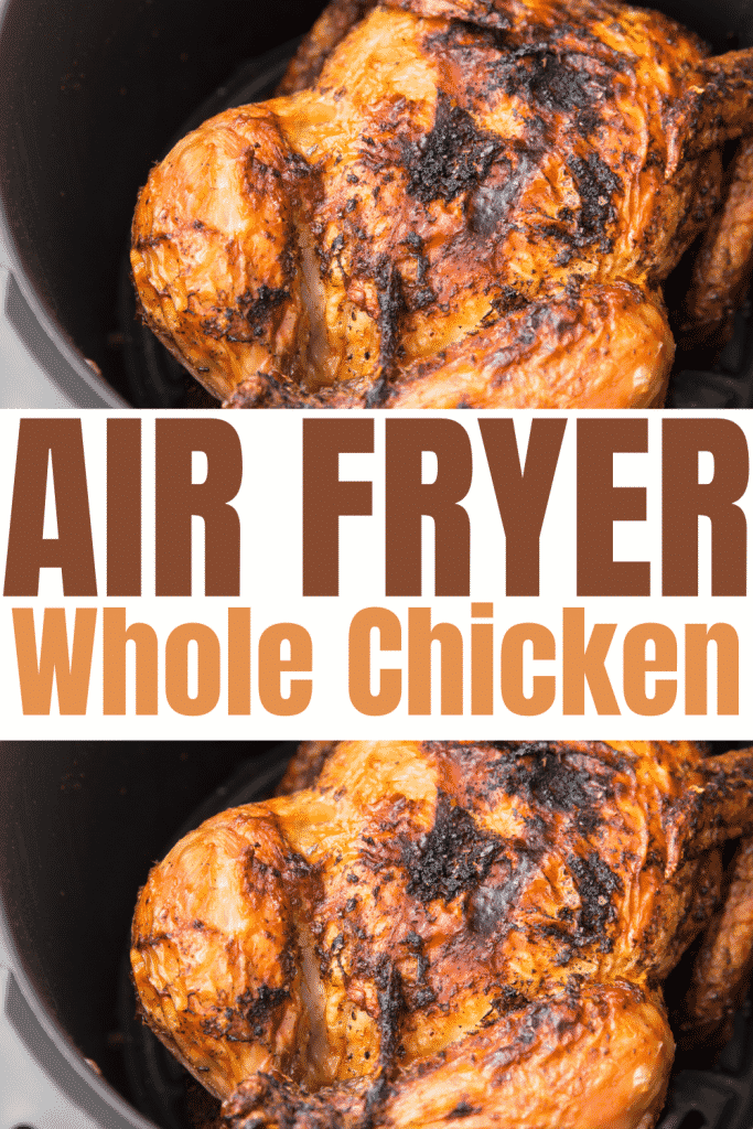 2 cooked whole chickens in air fryer baskets with overlay text