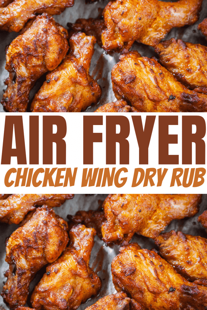 A close-up shot of crispy chicken wings cooked with homemade dry run and overlay text