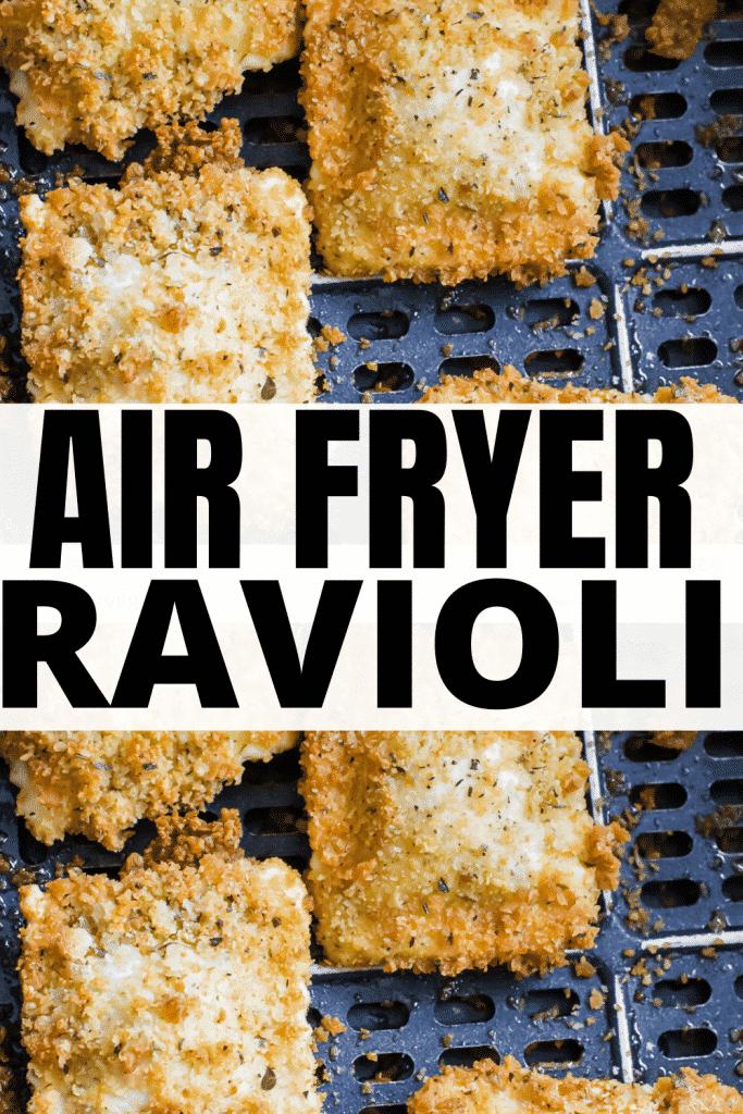 closeup view of breaded ravioli in an air fryer basket.