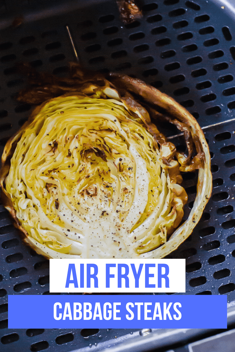 Air Fryer Cabbage Steaks are an amazing vegetarian main or side dish. They brown up beautifully in the air fryer with just a small amount of oil. #airfryer #veggies via @vegetarianmamma