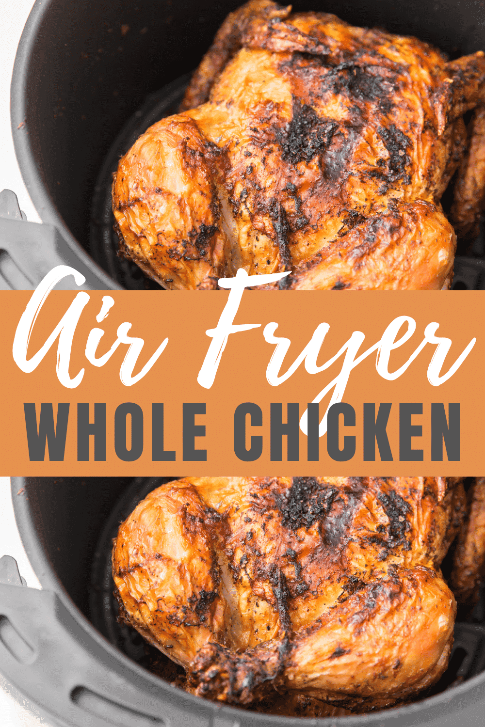 This Air Fryer Whole Chicken recipe makes the most succulent roasted chicken in less than an hour! Skip the rotisserie chicken and make this at home with a few simple spices. #airfryerwholechicken #airfryerchicken via @vegetarianmamma