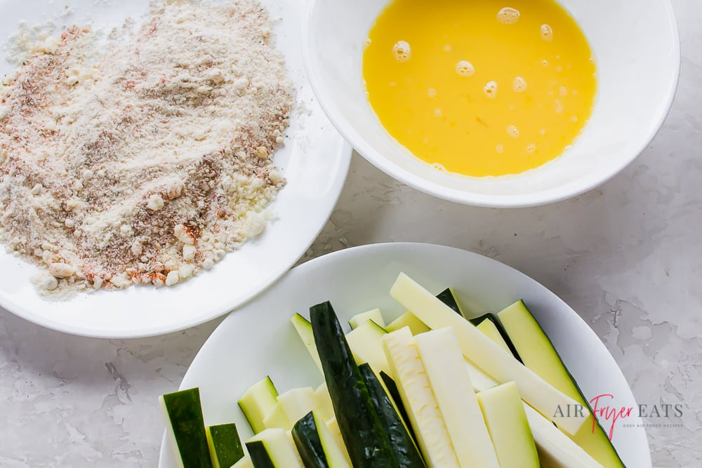 Ingredients for making keto zucchini fries