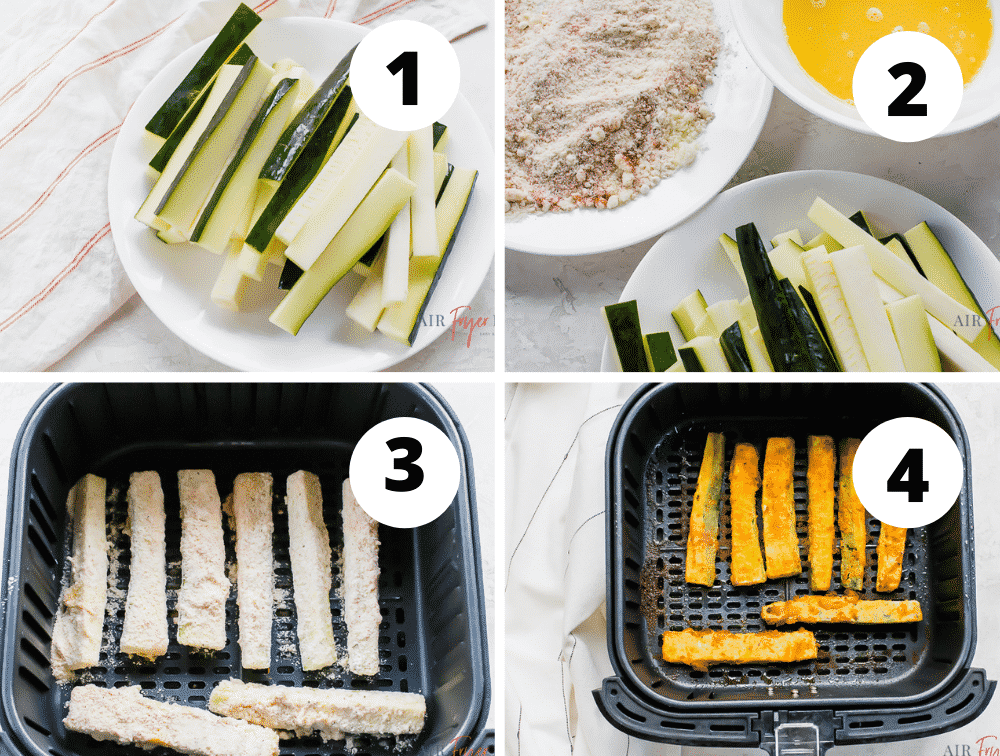 photo collage of four steps for making zucchini fries