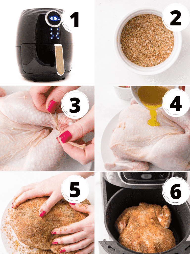 Steps to make a whole roasted chicken in the air fryer