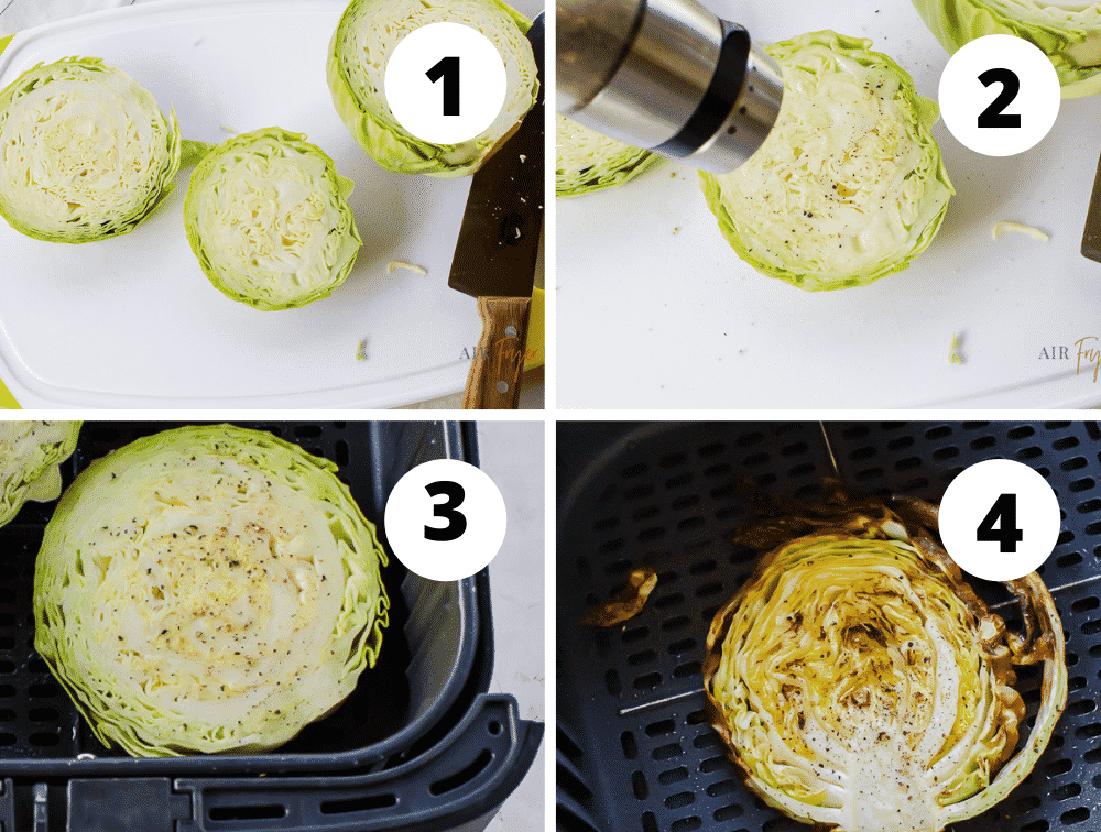 photo collage of four steps for making air fryer cabbage