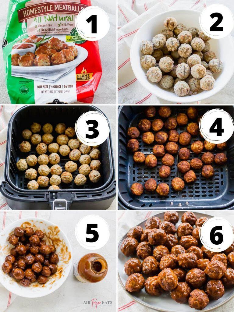 a photo collage of six steps to make air fryer meatballs