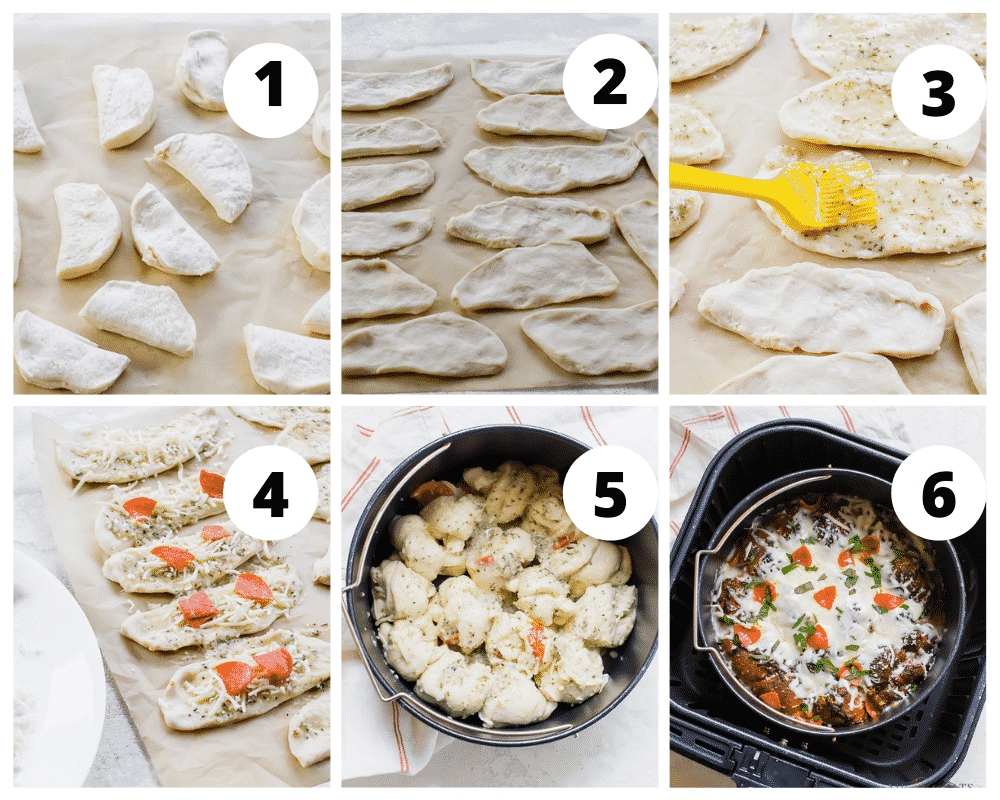 photo collage of six steps to make air fryer garlic knot pizza