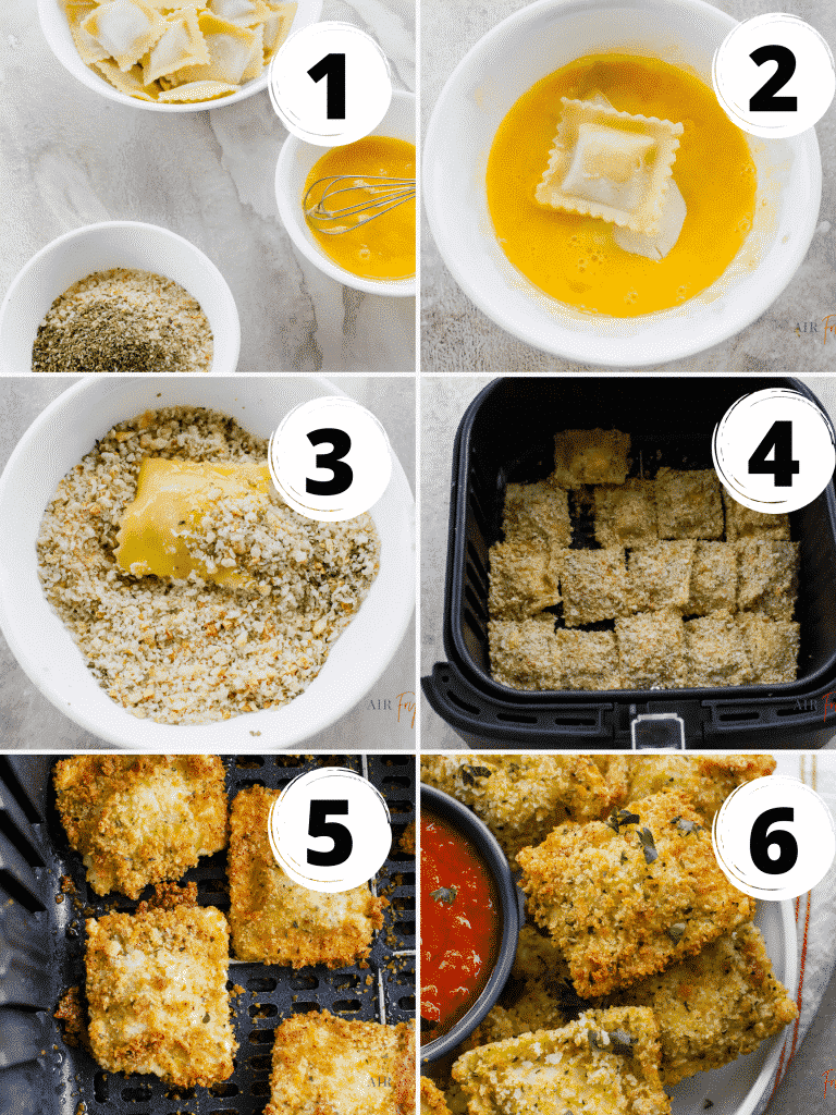 photo collage of images of six steps to make air fryer ravioli