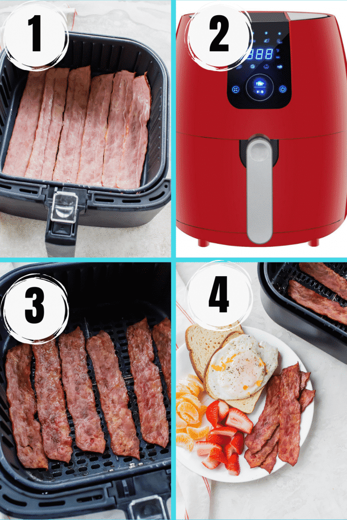 photo collage of 4 images showing how to make air fryer turkey bacon