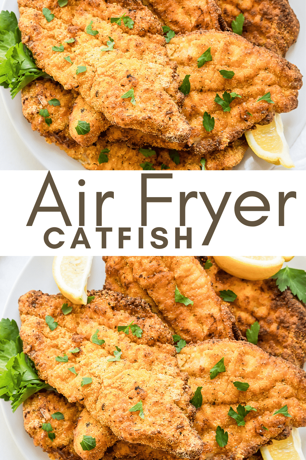 Air Fryer Catfish is the crispiest white fish without all the hot oil! These crunchy filets are coated in seasoned cornmeal and marinated in buttermilk for the best flaky fish in a flash. #airfryercatfish #airfryerfish via @vegetarianmamma