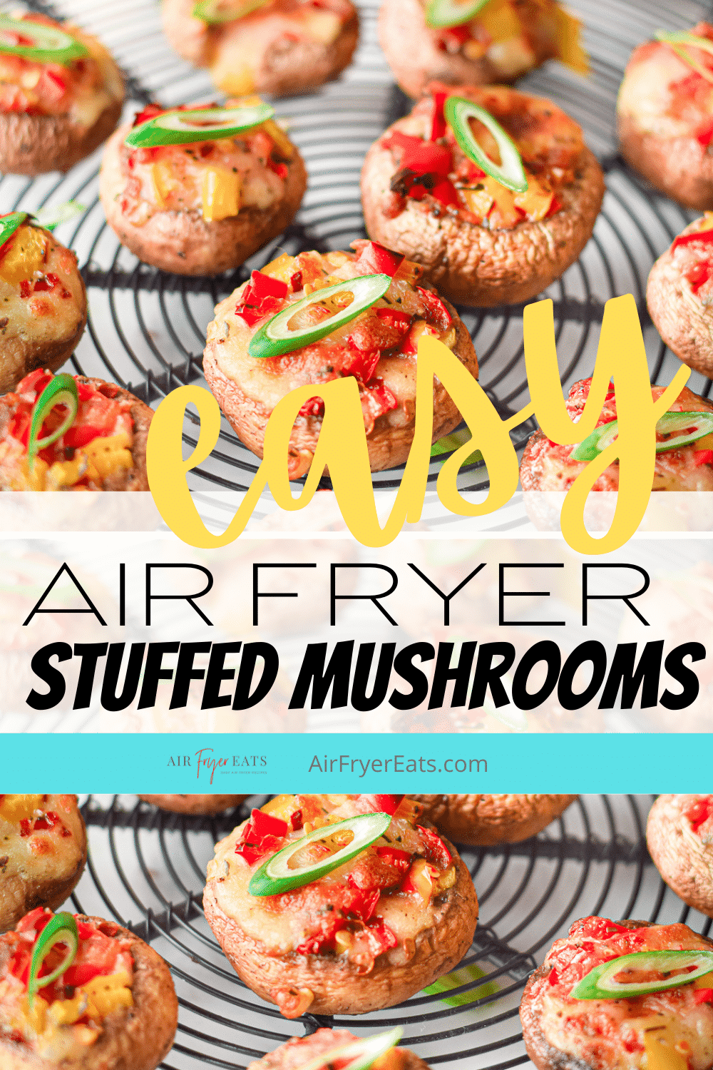 Air Fryer Stuffed Mushrooms are the vegetarian appetizer everyone wants to eat! These yummy stuffed mushroom caps are filled with gooey mozzarella cheese, red and yellow bell peppers, and a delicious Italian seasoning blend. #vegetarianapps #meatlessmonday #stuffedmushrooms via @vegetarianmamma