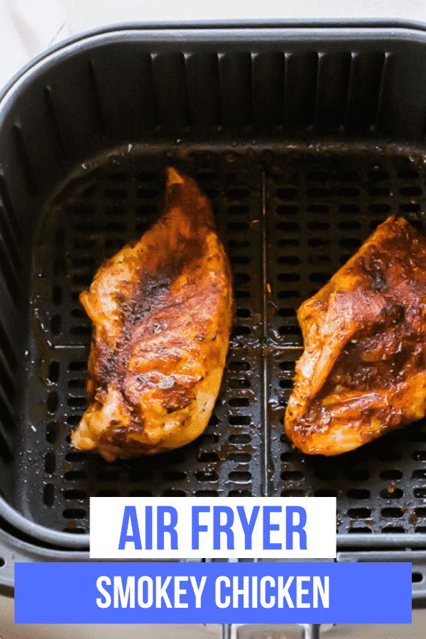 Perfectly seasoned Air Fryer Smoky Chicken is a quick and easy recipe for dinner that is reminiscent of summer barbecues and smokehouse restaurant dishes. #bbqchicken #airfryer via @vegetarianmamma