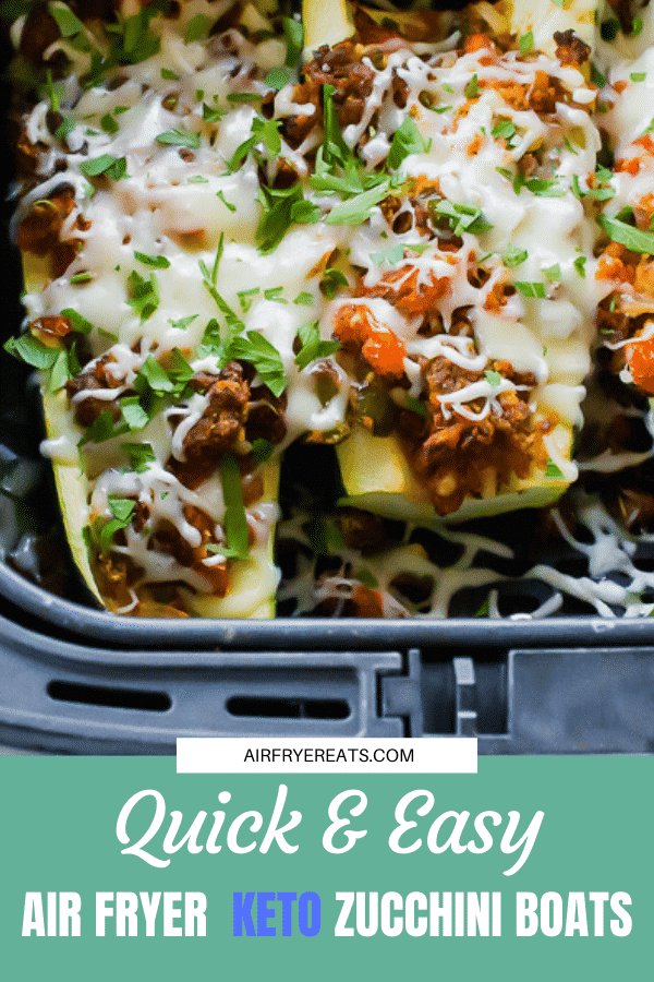 Stuffed full of meat, veggies, and melty cheese, the keto zucchini boats are perfectly seasoned, delicious, and ready in less than 10 minutes. #keto #airfryerketo #zucchini via @vegetarianmamma