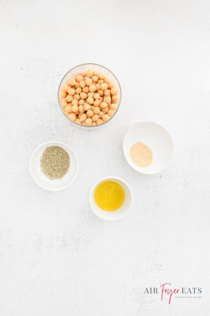 top down view of ingredients for air fryer chickpeas