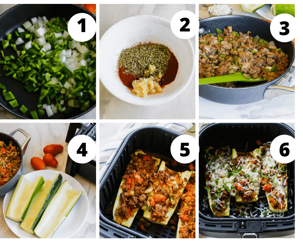 photo collage of six steps needed to make air fryer zucchini boats