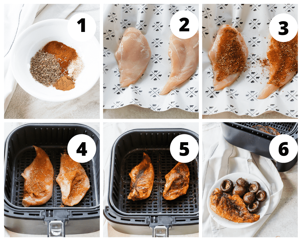 photo collage of six steps to make smoky air fryer chicken