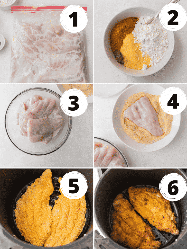 Collage of steps to make air fryer catfish with a buttermilk and hot sauce marinade