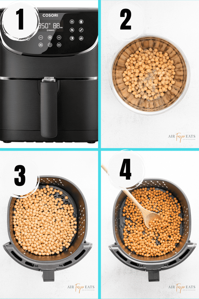 photo collage showing four steps needed to make chickpeas in an air fryer.