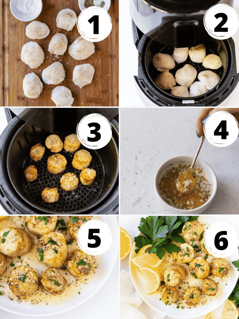 photo collage of six steps to make scallops in an air fryer