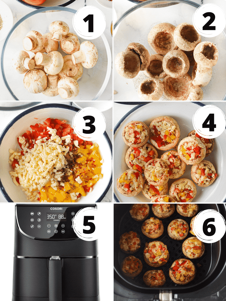 Collage of steps to make vegetarian stuffed mushroom caps in the air fryer