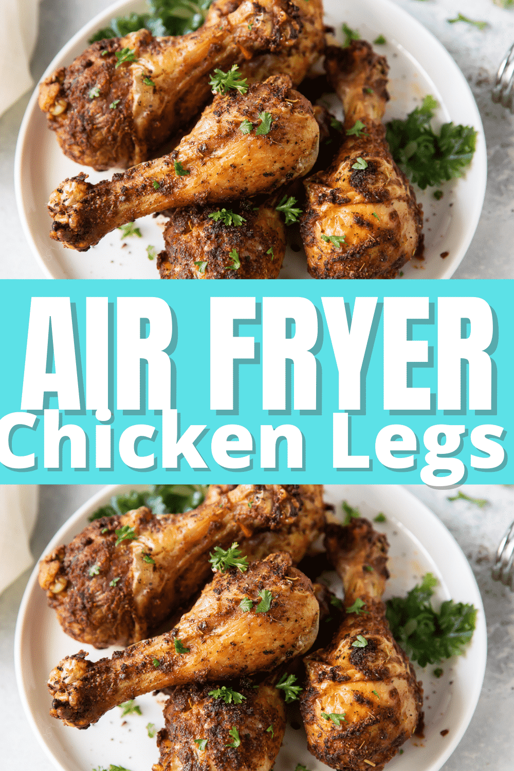 Air Fryer Chicken Legs is an inexpensive and simple recipe to make in your air fryer. Seasoned perfectly, this chicken will come out of the air fryer with crispy skin and juicy, tender meat. Your family will eat this up! #airfryer #chickenlegs via @vegetarianmamma