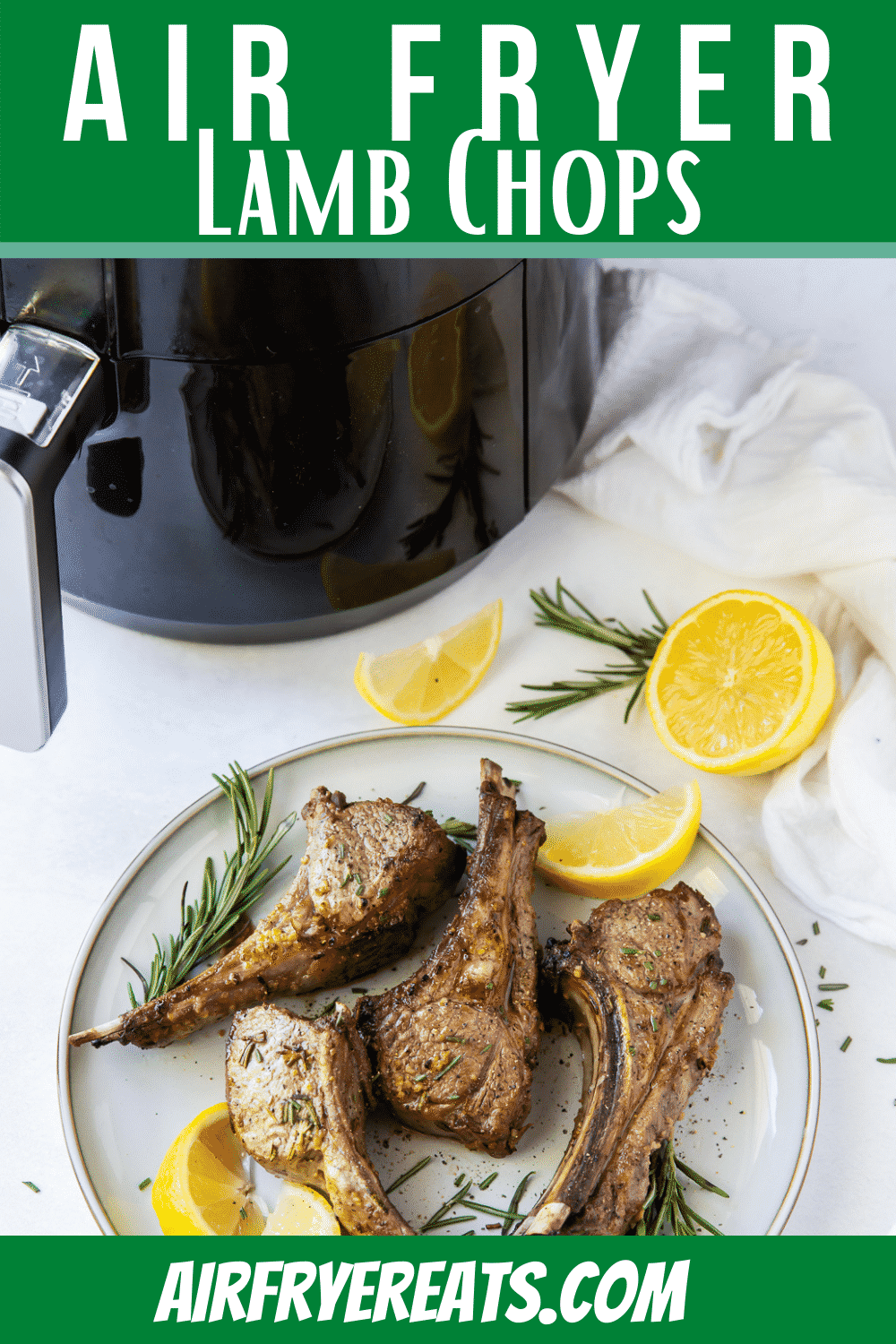 Air Fryer Lamb Chops are cooked perfectly in under 10 minutes. These lamb chops are perfectly seasoned with a flavorful marinade and make an impressive dinner for your family or guests. #airfryer #lamb #lambchops via @vegetarianmamma