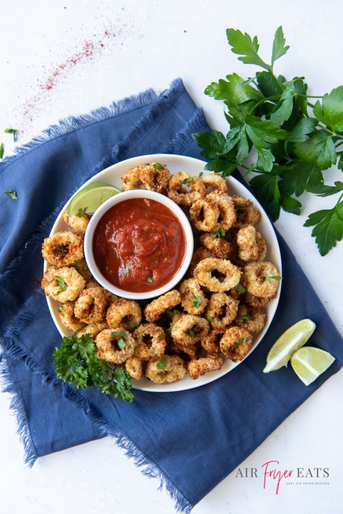 a plate of calamari and marina sauce on a blue napkin with frayed edges.