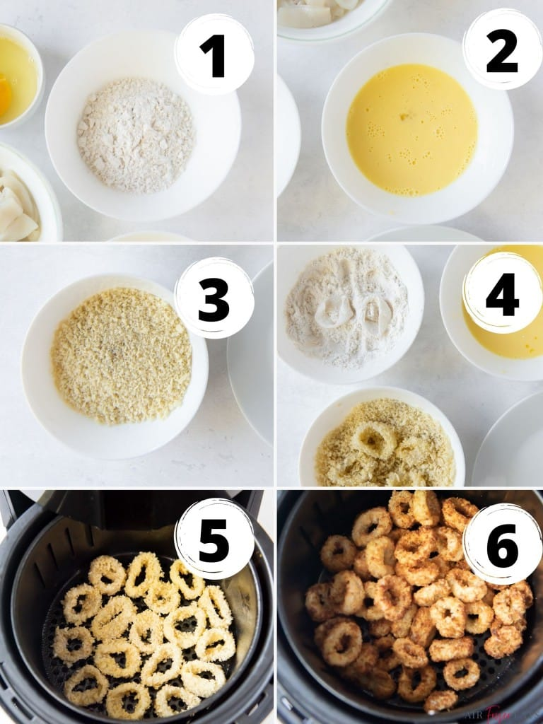 photo collage of six steps needed to make calamari in the air fryer