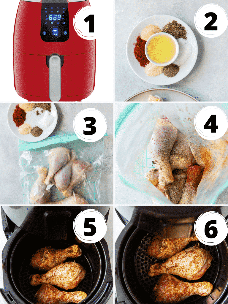 photo collage of six steps needed to make air fryer chicken legs
