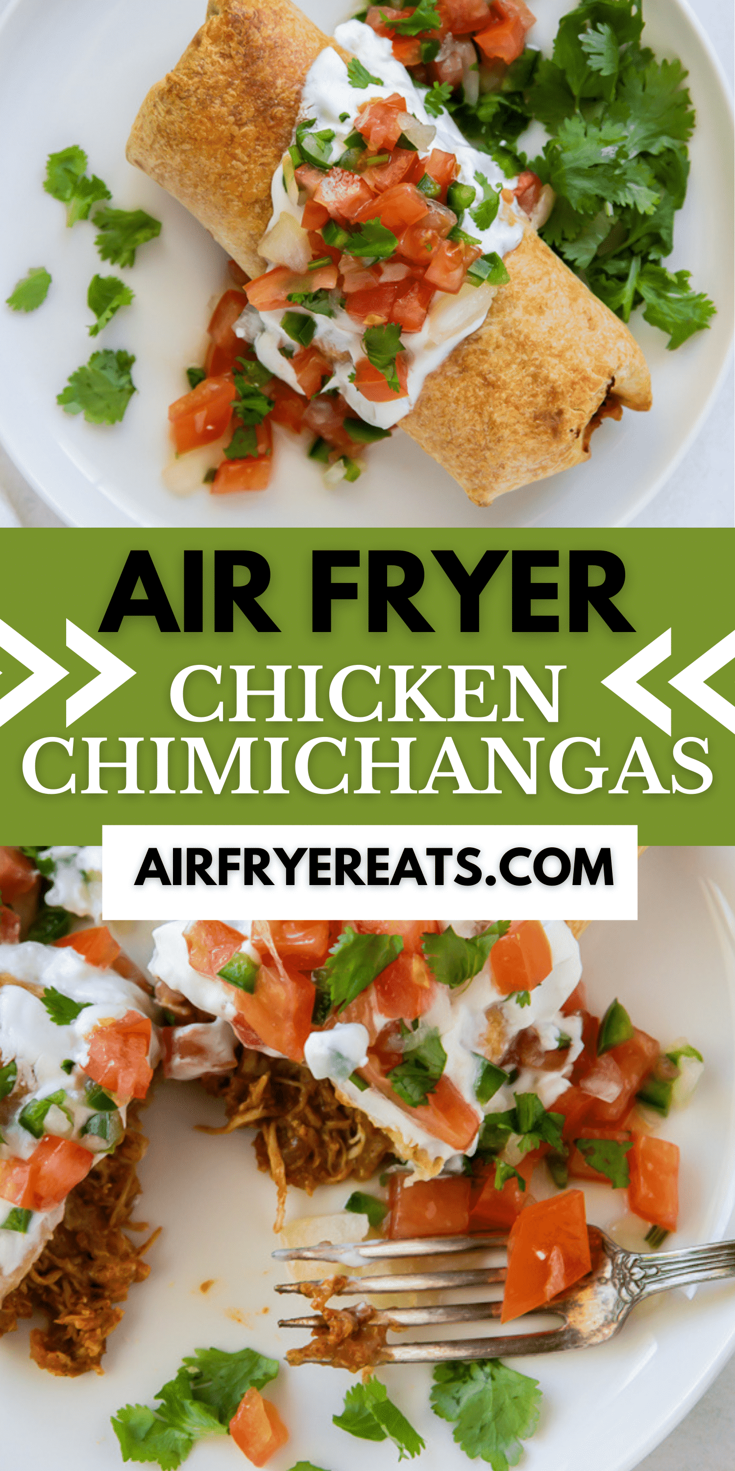 Air Fryer Chicken Chimichangas are stuffed full of Mexican inspired ingredients and crispy after air frying. No need for take out, just take out your air fryer. #Airfryer #mexican #texmex via @vegetarianmamma