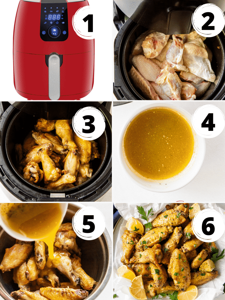 Photo Collage of six steps needed to make air fryer lemon pepper chicken wings