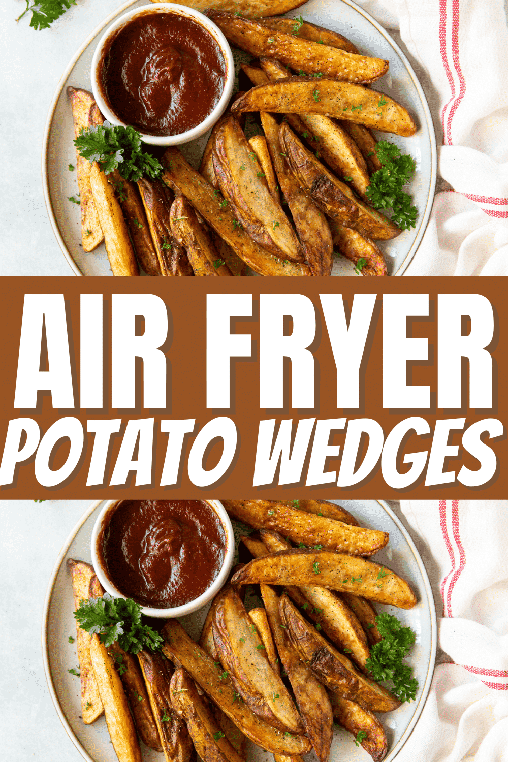 Air Fryer potato wedges are perfectly seasoned, rustic french fries that cook up beautifully crispy in your air fryer. Serve these as a side dish with your favorite dinners, you'll keep coming back to this recipe again and again. #frenchfries #airfryer via @vegetarianmamma